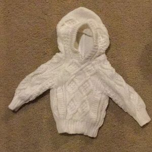 Grand Knitwear Shirts & Tops - CHUNKY CABLE KNIT SWEATER 12M 12 MONTHS WHITE ZIP